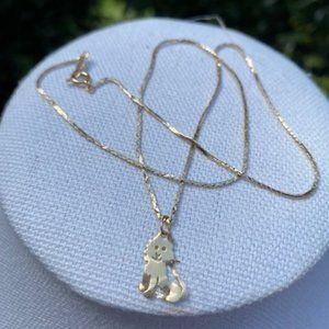 VTG 14K Gold Necklace and Lion Charm
